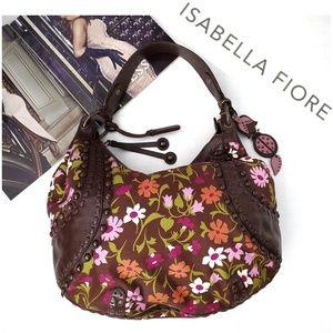 ISABELLA FIOR Brown Leather Floral Boho Hobo Bag